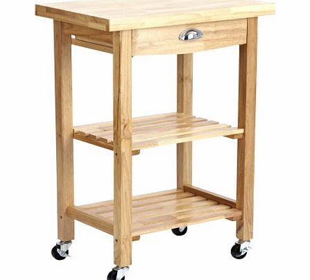 Sulgrave Compact Solid Rubberwood Kitchen or Garden BBQ Storage Rolling Trolley Cart with Butchers Block Style Chopping Board