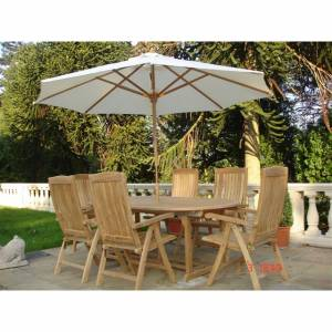 Teak 3 Metre Parasol Colour: Cream. Size: 3000 x 3000 x 2555 mm 6 ribs (15 x 25 mm / rib) 42mm pole - CLICK FOR MORE INFORMATION