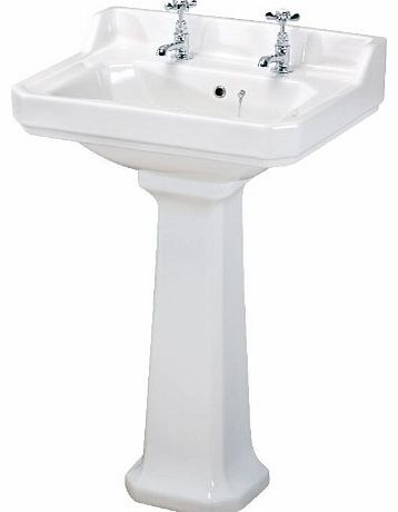 Traditional Design White Ceramic Bathroom Two Tap Hole White Ceramic Basin Sink and Full Pedestal