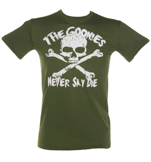 Mens Khaki Goonies Never Say Die T-Shirt