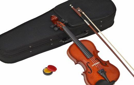 Childrens 1/16-Size Violin - Maple - For Age 3-4 Years - In Set with Shaped Case, Rosin and Horsehair Bow