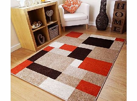 Twist RUST BROWN BEIGE SQUARES SOFT MODERN DESIGN RUG 160x230CM product image