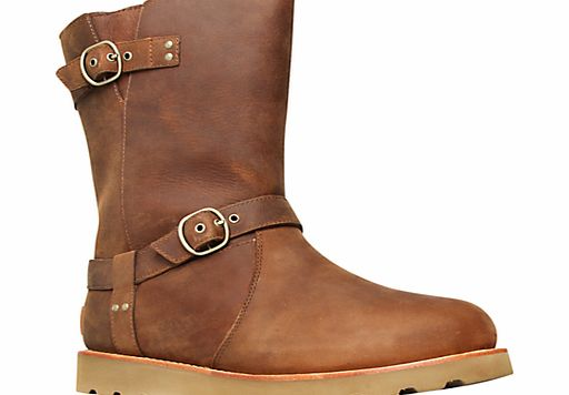 Ugg Noira Leather Double Buckled Calf Boots, Brown