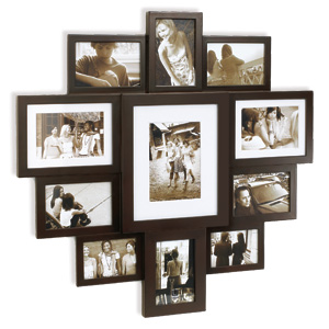 huddle large espresso wood multi photo frame
