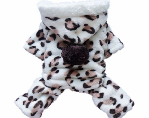 Umiwe TM) Lovely Cozy Coral Fleece Leopard Print Dog Coat/Jumpsuit/Hoodie/Pet Clothes-Brown (Small Size) With Umiwe Accessory Peeler