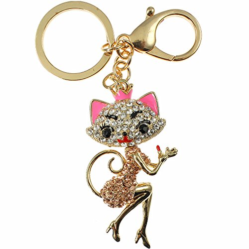Unique Gifts On The Web Adorable crystal diamante encrusted 3D gold plated lady cat handbag charm or key ring costume jewellery product image