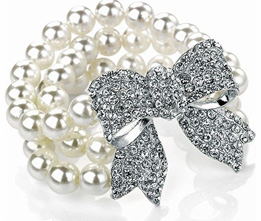 Unique Gifts On The Web Unique three row faux pearl diamante crystal stone encrusted silver plated bow womens classic bridal wear and evening wear easy fit elasticated bracelet costume jewellery. product image