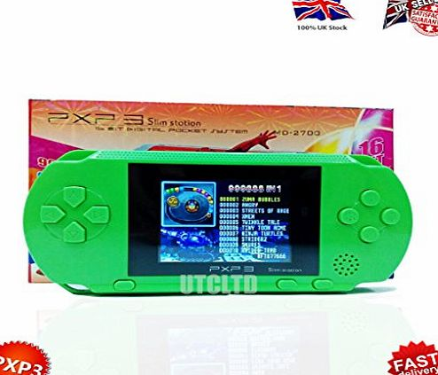 unique-store  PXP3 HANDHELD 16 BIT DIGITAL RETRO GAME SYSTEM SLIM STATION FAST VIDEO GAME CONSOLE HANDHELD. HIGH QUALITY GIFTBOX WITH 2.6 Inch COLOUR TFT LCD SCREE. Come with USB Charging Cable -More S