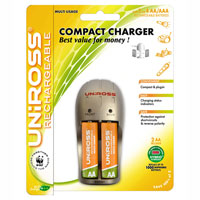 Uniross Compact AA and AAA Battery Charger + 2 product image