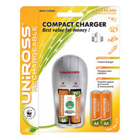 Uniross Compact AA and AAA Battery Charger + 4 product image