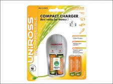 Uniross Compact Battery Charger + 4 AA Batteries product image
