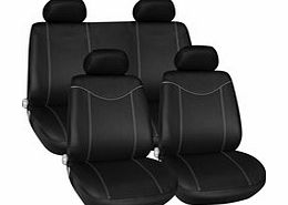 Protect your car seats from dirt, scratches and stains with this fantastic Full Seat Cover Set. The covers are black with grey piping. Includes: andbull; 2 front seat covers andbull; 2 rear seat covers andbull; 5 head rest covers andbull; Comes compl - CLICK FOR MORE INFORMATION