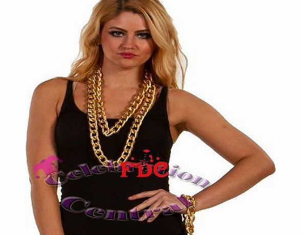 Unknown CC 6Mm X 22.5Mm X 32.5Mm 90Cm Gold Bling Necklace Bracelet Chain Rapper Gangsta Pimp Jewellery product image