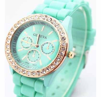 Unknown Fashion Base Green New Rose Gold Diamond Quartz Silicone Jelly Watch for Women Wedding Gift