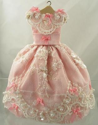 12 Scale Doll House Miniature Pink Silk and Lace Wedding Gown On