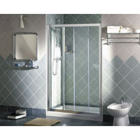 Modern, minimalistic, semi-frameless design with single slider door panel for maximum access