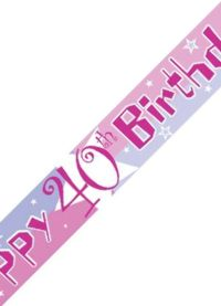 Unbranded 12ft Birthday Banner - 40th Pink Shimmer