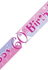 Unbranded 12ft Birthday Banner - 60th Pink Shimmer