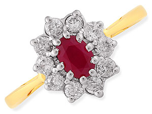 Unbranded 18ct Gold Diamond and Ruby Cluster Ring 043302-P