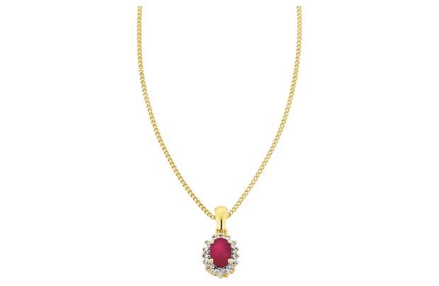 The ruby is known as being the colour of love and is complemented by a solid chain. Part of the Precious Gems collection 18ct gold plated. Ruby and diamond set pendant. Length of necklace 46cm/18in. Pendant size H16