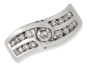 `A ring with just that little bit extra - a brilliant cut diamond is at its centre leading to the tw