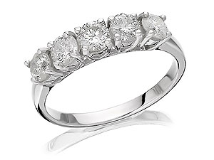 Unbranded 18ct White Gold Five Diamond 1 Carat Half Eternity Ring 040772-L
