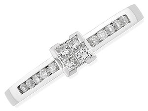 `The four ``invisible set`` Princess cut diamonds at the apex of this 18ct white gold ring are compl