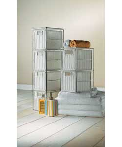 Includes chrome framed 4 drawer storage tower and chrome framed 2 drawer unit. Size of tower (W)17,