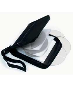 Holds 24 CDs/DVDs without cases. Square shape with carrying handle