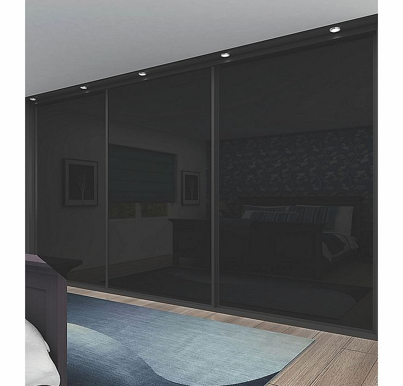 stylish black panel sliding wardrobe doors, complete with rollers  803 x 770