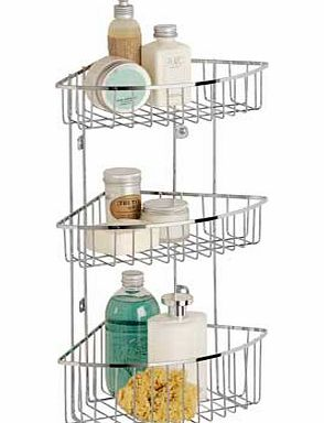 This wall mounted shower caddy has 3 convenient tiers to offer a simple. great-value storage solution for your bathroom. 3 storage sections. Chrome. Size H48. W32. D24cm. Fixtures and fittings included. Supplied assembled. EAN: 8334943. - CLICK FOR MORE INFORMATION