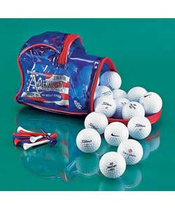 30 lake golf balls and 30 wooden golf tees.Contents may vary but may include the following