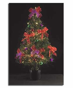 3ft 90cm Decorated Red Purple Fibre Optic Tree Christmas