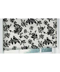 Black and white roller blind with no sew bottom bar