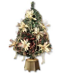 Ready decorated with luxury poinsettias and clear shimmering effect