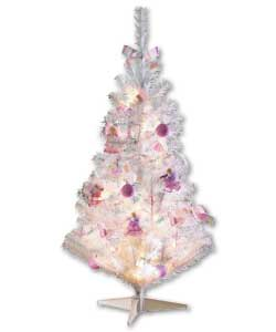 90cm ready to dress white tree with 27 pink white and lilac assorted