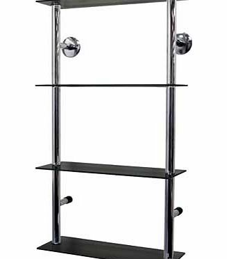 Modern styled wall mounted metal and black glass storage shelves ideal as a display or storage unit for CDs. DVDs. books. ornaments or collectables. Also ideal for a bathroom for all your toiletries. towels and loo rolls. 25cm gap vertically between