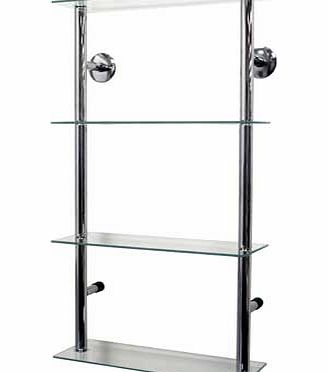 Modern styled wall mounted metal and clear glass storage shelves ideal as a display or storage unit for CDs. DVDs. books. ornaments or collectables. Also ideal for a bathroom for all your toiletries. towels and loo rolls. 25cm gap vertically between