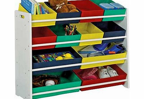 4 tier white childs storage unit with bins review compare prices buy online. Black Bedroom Furniture Sets. Home Design Ideas
