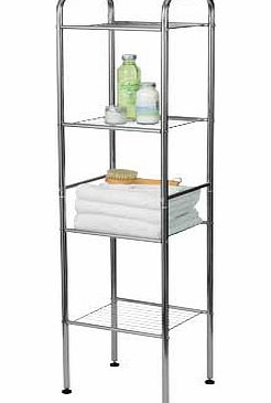 This sturdy wire shelf has a stylish silver chrome finish. spacious racks and a space-saving design. Chrome finish. 4 shelves. Size H114. W28. D32cm. Complete with fixtures and fittings. Self-assembly. - CLICK FOR MORE INFORMATION