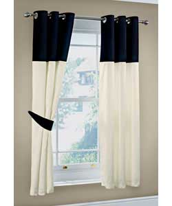 46 X 90in Carly Faux Silk Curtains Black And Cream