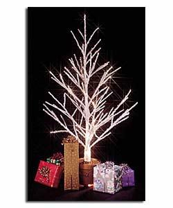 4ft Fibre Optic Twig Tree with Gold Plastic Pot Christmas ...