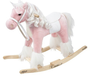 Unbranded 60cm Pink Unicorn Rocking Horse with Sounds