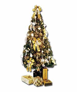 6ft/1.8m Decorated Silver and Gold Fibre Optic Tree