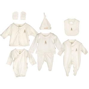 8 Piece Set of Baby Clothes Ecru Newborn Childrens Gift