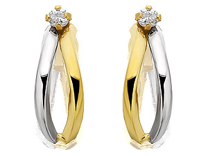 Unbranded 9ct-Two-Colour-Gold-and-Cubic-Zirconia-Half-Hoop-Earrings-072814