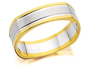Unbranded 9ct Two Colour Gold Squared Edge Shaped Brides
