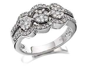 Unbranded 9ct-White-Gold-And-Diamond-Trilogy-Ring--0.5ct-047121