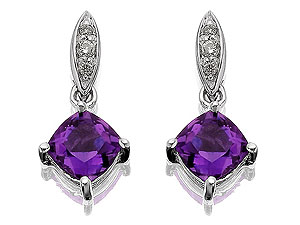 Unbranded 9ct White Gold Diamond And Amethyst Drop