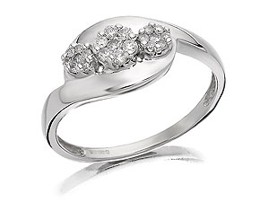 Unbranded 9ct-White-Gold-Diamond-Trilogy-Crossover-Ring--0.25ct-047110